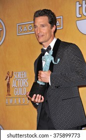 LOS ANGELES, CA - JANUARY 18, 2014: Matthew McConaughey at the 20th Annual Screen Actors Guild Awards at the Shrine Auditorium.