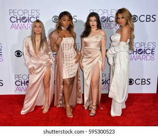 LOS ANGELES, CA. January 18, 2017: Pop group Fifth Harmony at the 2017 People's Choice Awards at The Microsoft Theatre, L.A. Live.