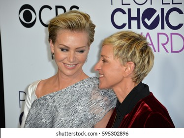 LOS ANGELES, CA. January 18, 2017: Actress/comedian Ellen Degeneres & actress spouse Portia De Rossi at the 2017 People's Choice Awards at The Microsoft Theatre, L.A. Live.