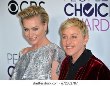 LOS ANGELES, CA - JANUARY 18, 2017: Ellen DeGeneres & Portia de Rossi at the 2017 People's Choice Awards at The Microsoft Theatre, L.A. Live, Los Angeles
