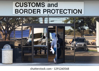 LOS ANGELES, CA - JANUARY 21, 2019: U.S. Customs and Border Protection is part of up to 88,000 Department of Homeland Security employees who will work without pay during the shutdown.