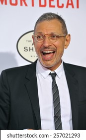 """LOS ANGELES, CA - JANUARY 21, 2015: Jeff Goldblum at the Los Angeles premiere of his movie """"Mortdecai"""" at the TCL Chinese Theatre, Hollywood."""