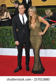 LOS ANGELES, CA - JANUARY 25, 2015: Jennifer Aniston & Justin Theroux at the 2015 Screen Actors Guild  Awards at the Shrine Auditorium.