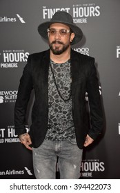 """LOS ANGELES, CA - JANUARY 25, 2016: Backstreet Boys musician A.J. McLean at the premiere of """"The Finest Hours"""" at the TCL Chinese Theatre, Hollywood."""