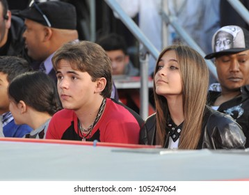 LOS ANGELES, CA - JANUARY 26, 2012: Prince Michael Jackson & Paris Jackson at Michael Jackson memorial at Grauman's Chinese Theatre. January 26, 2012  Los Angeles, CA