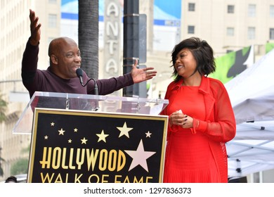 LOS ANGELES, CA. January 28, 2019: Taraji P. Henson & John Singleton at the Hollywood Walk of Fame Star Ceremony honoring Taraji P. Henson.