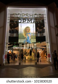Los Angeles, CA: January 29, 2018:  Exterior of a Topshop Topman at night.  Topshop is a British fashion retailer.