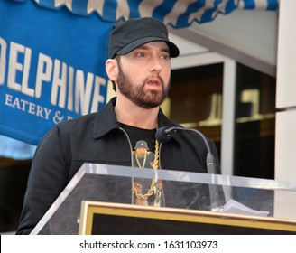 """LOS ANGELES, CA. January 30, 2020: Eminem at the Hollywood Walk of Fame Star Ceremony honoring Curtis """"50 Cent"""" Jackson.Pictures: Paul Smith/Featureflash"""