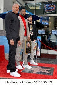 "LOS ANGELES, CA. January 30, 2020: Dr. Dre, Curtis 50 Cent Jackson & Eminem at the Hollywood Walk of Fame Star Ceremony honoring Curtis ""50 Cent"" Jackson.