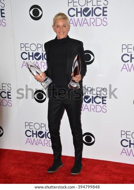 LOS ANGELES, CA - JANUARY 6, 2016: Ellen Degeneres at the People's Choice Awards 2016