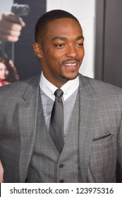 LOS ANGELES, CA - JANUARY 7: Anthony Mackie arrives at the premiere of Gangster Squad at Grauman's Chinese Theatre in Los Angeles, CA on January 7, 2013