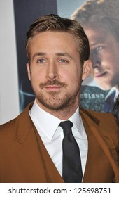 """LOS ANGELES, CA - JANUARY 7, 2013: Ryan Gosling at the world premiere of his movie """"Gangster Squad"""" at Grauman's Chinese Theatre, Hollywood."""