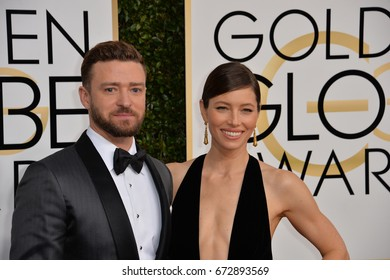 LOS ANGELES, CA - JANUARY 8, 2017: Jessica Biel & Justin Timberlake at the 74th Golden Globe Awards  at The Beverly Hilton Hotel, Los Angeles