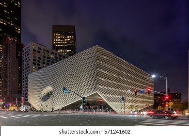 LOS ANGELES, CA - January 9, 2017: The Broad, a contemporary art museum in Los Angeles at twilight