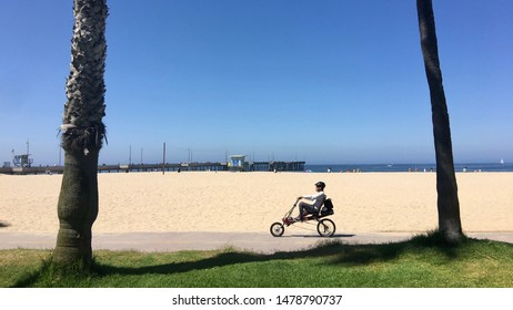 LOS ANGELES, CA, JUL 2019: cyclist on recumbent bike rides along the boardwalk between palm trees at Venice Beach. Pier and ocean in background