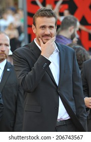 "LOS ANGELES, CA - JULY 10, 2014: Jason Segel at the world premiere of his movie ""Sex Tape"" at the Regency Village Theatre, Westwood."
