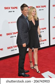 "LOS ANGELES, CA - JULY 10, 2014: Rob Lowe & wife Sheryl Berkoff at the world premiere of his movie ""Sex Tape"" at the Regency Village Theatre, Westwood."