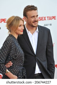"""LOS ANGELES, CA - JULY 10, 2014: Cameron Diaz & Jason Segel at the world premiere of their movie """"Sex Tape"""" at the Regency Village Theatre, Westwood."""