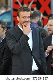 """LOS ANGELES, CA - JULY 10, 2014: Jason Segel at the world premiere of his movie """"Sex Tape"""" at the Regency Village Theatre, Westwood."""