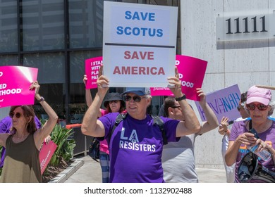 LOS ANGELES, CA - JULY 12, 2018: Protesters showed up at Senator Diane Feinstein's District Office to protest  nomination Brett Kavanaugh as Supreme Court Justice.