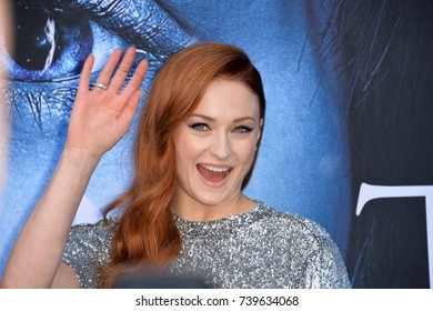 "LOS ANGELES, CA. July 12, 2017: Actress Sophie Turner at the season seven premiere for ""Game of Thrones"" at the Walt Disney Concert Hall, Los Angeles"