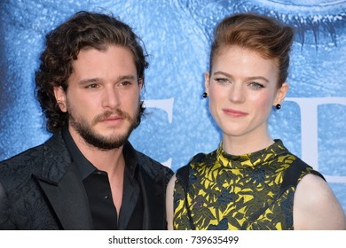 "LOS ANGELES, CA. July 12, 2017: Actor Kit Harington & girlfriend actress Rose Leslie at the season seven premiere for ""Game of Thrones"" at the Walt Disney Concert Hall, Los Angeles"