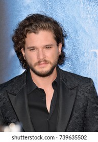 """LOS ANGELES, CA. July 12, 2017: Actor Kit Harington at the season seven premiere for """"Game of Thrones"""" at the Walt Disney Concert Hall, Los Angeles"""