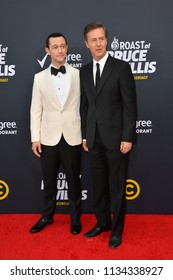 LOS ANGELES, CA - July 14, 2018: Edward Norton & Joseph Gordon-Levitt at the Comedy Central Roast of Bruce Willis at the Hollywood Palladium
