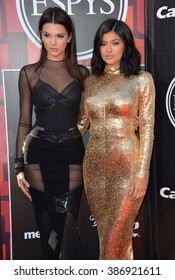 LOS ANGELES, CA - JULY 15, 2015: Kendall Jenner & Kylie Jenner (right) at the 2015 ESPY Awards at the Microsoft Theatre LA Live.