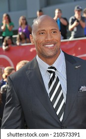 "LOS ANGELES, CA - JULY 16, 2014: Actor Dwayne Johnson, aka ""The Rock"", at the 2014 ESPY Awards at the Nokia Theatre LA Live."