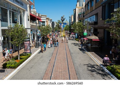 Los Angeles, CA: July 16, 2016: The Grove in Los Angeles.   The Grove opened to the public in 2002.