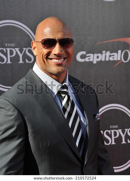 "LOS ANGELES, CA - JULY 16, 2014: Actor Dwayne Johnson, aka ""The Rock"", at the 2014 ESPY Awards at the Nokia Theatre LA Live."