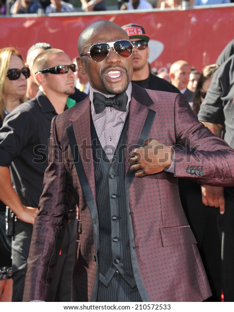LOS ANGELES, CA - JULY 16, 2014: Boxer Floyd Mayweather Jr. at the 2014 ESPY Awards at the Nokia Theatre LA Live.