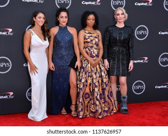 LOS ANGELES, CA - July 18, 2018: Aly Raisman, Jordyn Wieber, Tiffany Thomas Lopez & Sarah Klein at the 2018 ESPY Awards at the Microsoft Theatre LA Live