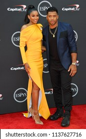 LOS ANGELES, CA - July 18, 2018: Russell Wilson & Ciara at the 2018 ESPY Awards at the Microsoft Theatre LA Live