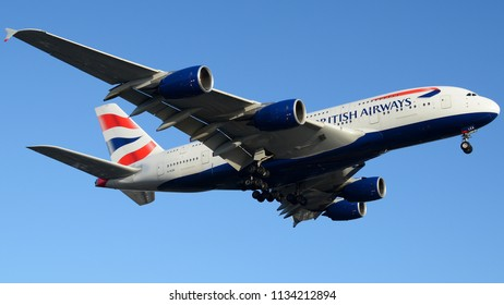 Los Angeles, CA - July 1st, 2018: A British Airways Airbus A380-841 Landing at Los Angeles International Airport