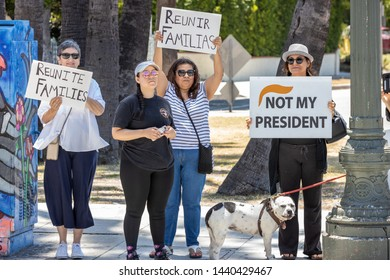 LOS ANGELES, CA - JULY 2, 2019: Protesters gather outside Representative Bass' district office to protest the Child Detention Centers.