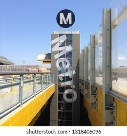 LOS ANGELES, CA, JULY 2015: signage for LA Metro station, bus and rail transit system for the county