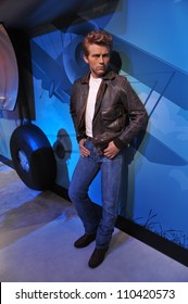 LOS ANGELES, CA - JULY 21, 2009: James Dean waxwork figure - grand opening of Madame Tussauds Hollywood.