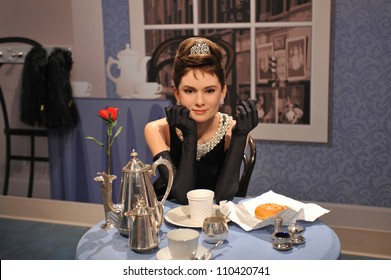 LOS ANGELES, CA - JULY 21, 2009: Audrey Hepburn waxwork figure - grand opening of Madame Tussauds Hollywood.