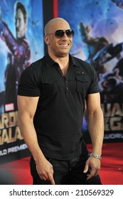 """LOS ANGELES, CA - JULY 21, 2014: Vin Diesel at the world premiere of his movie """"Guardians of the Galaxy"""" at the El Capitan Theatre, Hollywood."""