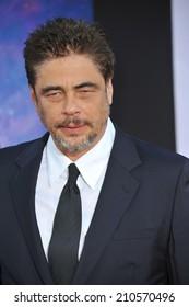 "LOS ANGELES, CA - JULY 21, 2014: Benicio Del Toro at the world premiere of his movie ""Guardians of the Galaxy"" at the El Capitan Theatre, Hollywood."