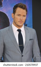 """LOS ANGELES, CA - JULY 21, 2014: Chris Pratt at the world premiere of his movie """"Guardians of the Galaxy"""" at the El Capitan Theatre, Hollywood."""