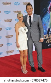 """LOS ANGELES, CA - JULY 21, 2014: Chris Pratt & wife Anna Faris at the world premiere of his movie """"Guardians of the Galaxy"""" at the El Capitan Theatre, Hollywood."""