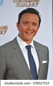 """LOS ANGELES, CA - JULY 21, 2014: Peter Serafinowicz at the world premiere of his movie """"Guardians of the Galaxy"""" at the El Capitan Theatre, Hollywood."""
