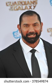 """LOS ANGELES, CA - JULY 21, 2014: Dave Bautista at the world premiere of his movie """"Guardians of the Galaxy"""" at the El Capitan Theatre, Hollywood."""