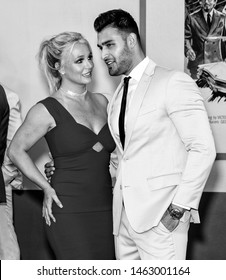 "Los Angeles, CA - July 22, 2019: Britney Spears and Sam Asghar attend The Los Angeles Premiere Of  ""Once Upon a Time in Hollywood"" held at TCL Chinese Theatre"