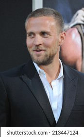 """LOS ANGELES, CA - JULY 23, 2014: Tobias Santelmann at the premiere of his movie """"Hercules"""" at the TCL Chinese Theatre, Hollywood."""