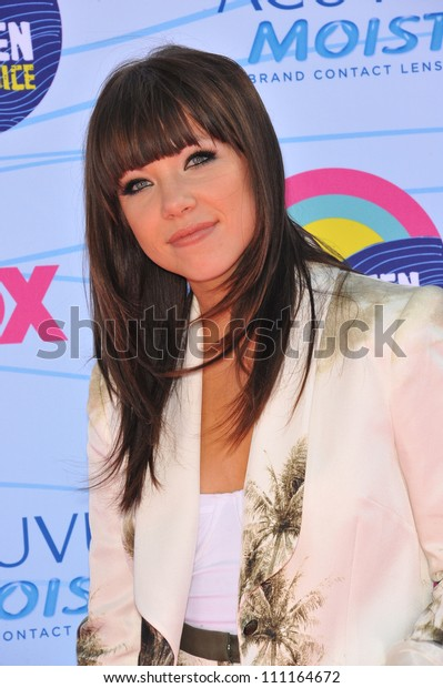 LOS ANGELES, CA - JULY 23, 2012: Carly Rae Jepsen at the 2012 Teen Choice Awards at the Gibson Amphitheatre, Universal City.