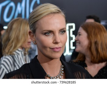 "LOS ANGELES, CA. July 24, 2017: Actress Charlize Theron at the premiere for ""Atomic Blonde"" at The Theatre at Ace Hotel, Los Angeles."